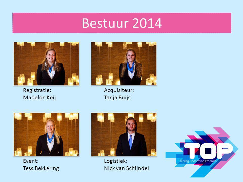 Bestuur 2014 Registratie: Madelon Keij Acquisiteur: Tanja Buijs Event: Tess Bekkering Logistiek: Nick van Schijndel