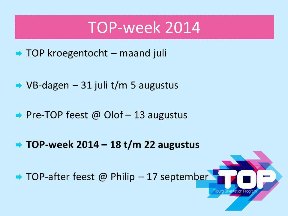 TOP-week 2014  TOP kroegentocht – maand juli  VB-dagen – 31 juli t/m 5 augustus  Pre-TOP feest @ Olof – 13 augustus  TOP-week 2014 – 18 t/m 22 aug