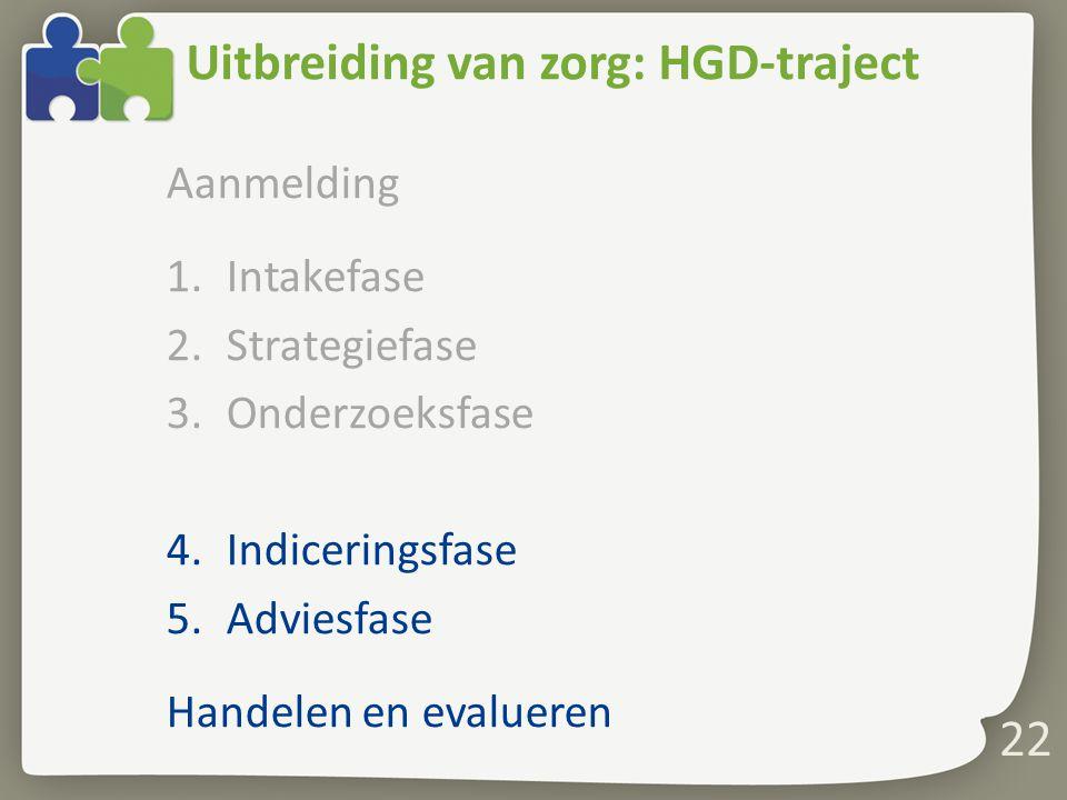 22 Uitbreiding van zorg: HGD-traject Aanmelding 1.Intakefase 2.Strategiefase 3.Onderzoeksfase 4.Indiceringsfase 5.Adviesfase Handelen en evalueren