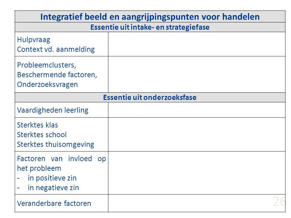 26 Integratief beeld en aangrijpingspunten voor handelen Essentie uit intake- en strategiefase Hulpvraag Context vd. aanmelding Probleemclusters, Besc