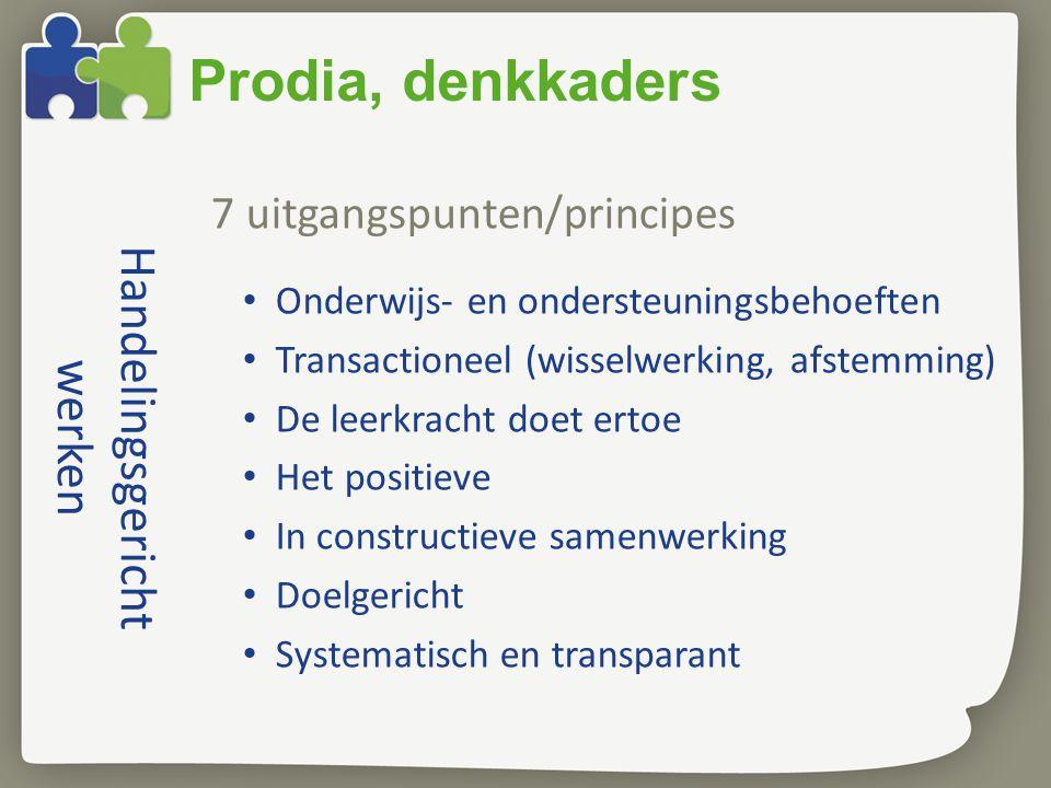 Handelingsgericht werken 7 uitgangspunten/principes Onderwijs- en ondersteuningsbehoeften Transactioneel (wisselwerking, afstemming) De leerkracht doe