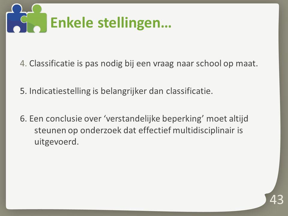 Enkele stellingen… 4. Classificatie is pas nodig bij een vraag naar school op maat. 5. Indicatiestelling is belangrijker dan classificatie. 6. Een con