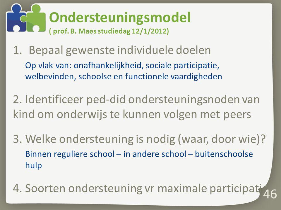Ondersteuningsmodel ( prof. B. Maes studiedag 12/1/2012) 1.Bepaal gewenste individuele doelen Op vlak van: onafhankelijkheid, sociale participatie, we
