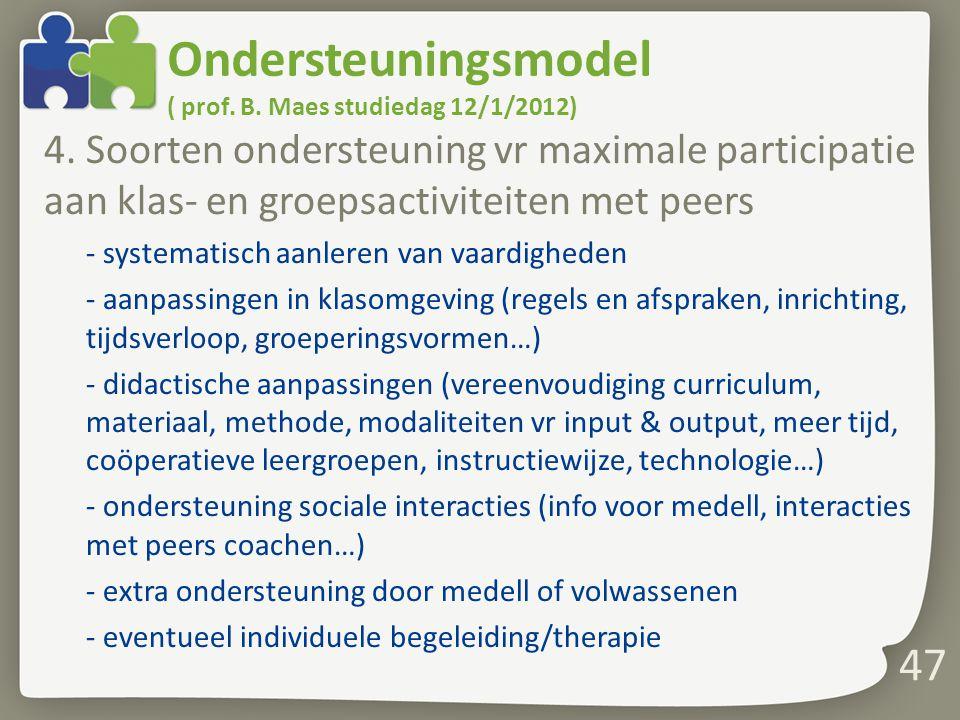 Ondersteuningsmodel ( prof. B. Maes studiedag 12/1/2012) 4. Soorten ondersteuning vr maximale participatie aan klas- en groepsactiviteiten met peers -