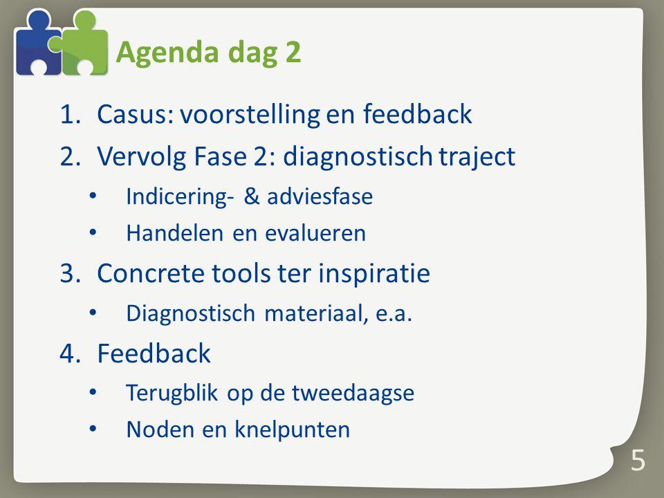 5 Agenda dag 2 1.Casus: voorstelling en feedback 2.Vervolg Fase 2: diagnostisch traject Indicering- & adviesfase Handelen en evalueren 3.Concrete tool