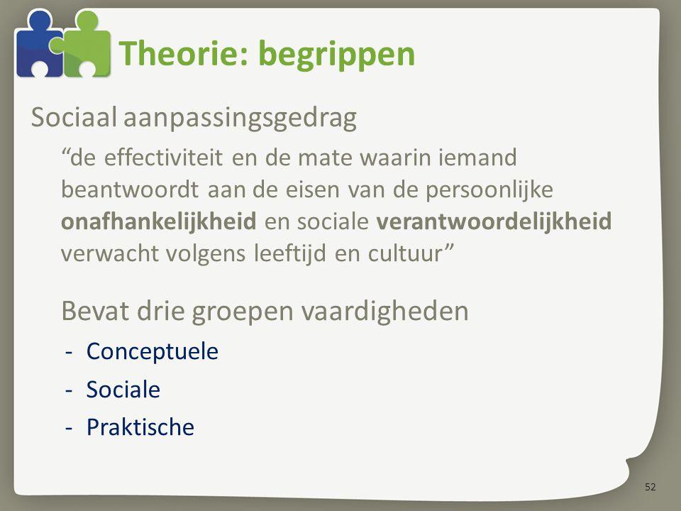 """52 Theorie: begrippen Sociaal aanpassingsgedrag """"de effectiviteit en de mate waarin iemand beantwoordt aan de eisen van de persoonlijke onafhankelijkh"""