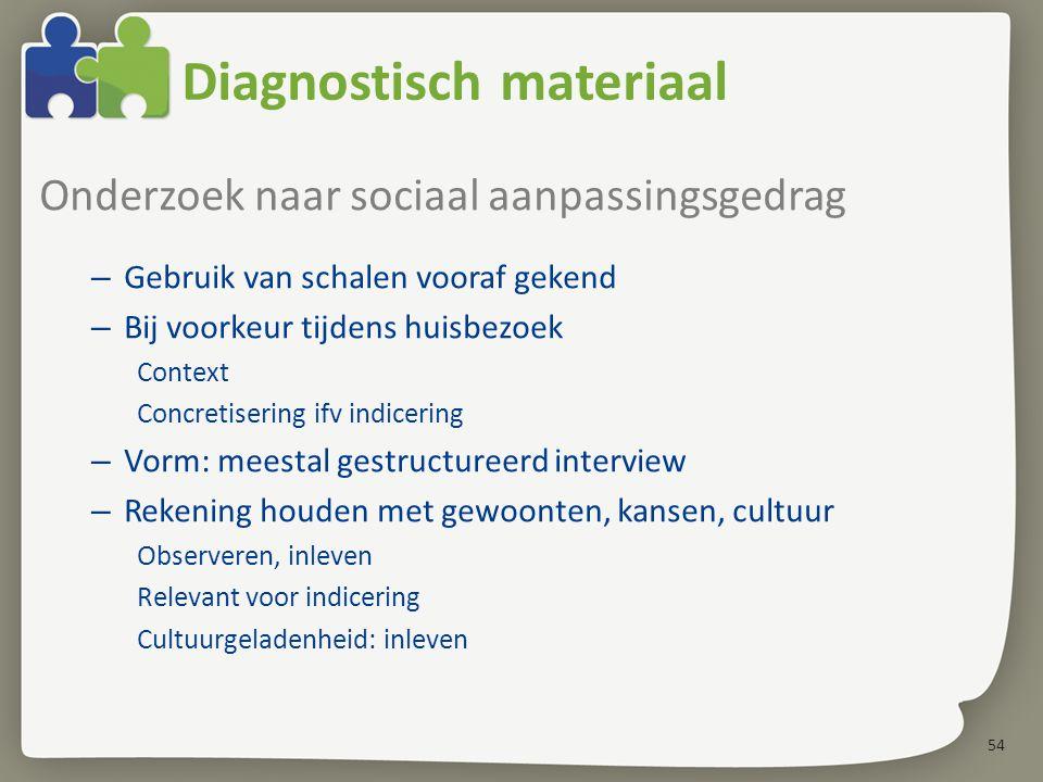 54 Diagnostisch materiaal Onderzoek naar sociaal aanpassingsgedrag – Gebruik van schalen vooraf gekend – Bij voorkeur tijdens huisbezoek Context Concr