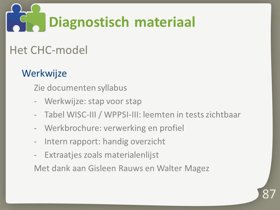 Diagnostisch materiaal Het CHC-model Werkwijze Zie documenten syllabus -Werkwijze: stap voor stap -Tabel WISC-III / WPPSI-III: leemten in tests zichtb