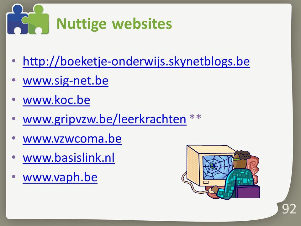 Nuttige websites http://boeketje-onderwijs.skynetblogs.be www.sig-net.be www.koc.be www.gripvzw.be/leerkrachten ** www.gripvzw.be/leerkrachten www.vzw
