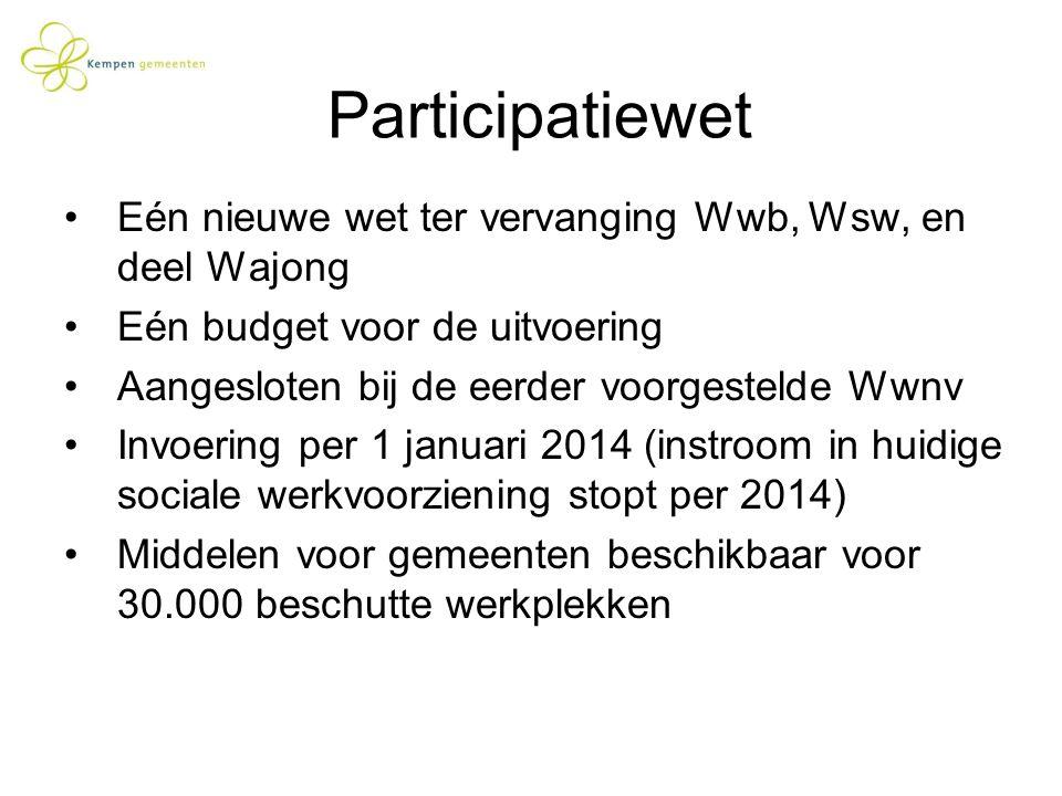 Participatiewet Eén nieuwe wet ter vervanging Wwb, Wsw, en deel Wajong Eén budget voor de uitvoering Aangesloten bij de eerder voorgestelde Wwnv Invoe