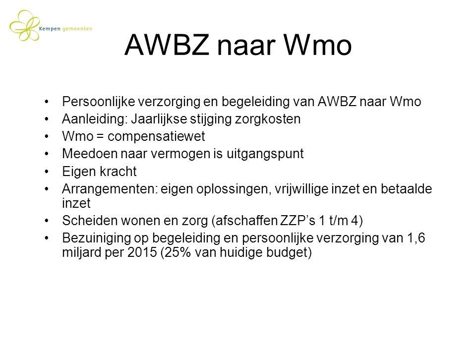 AWBZ naar Wmo Persoonlijke verzorging en begeleiding van AWBZ naar Wmo Aanleiding: Jaarlijkse stijging zorgkosten Wmo = compensatiewet Meedoen naar ve