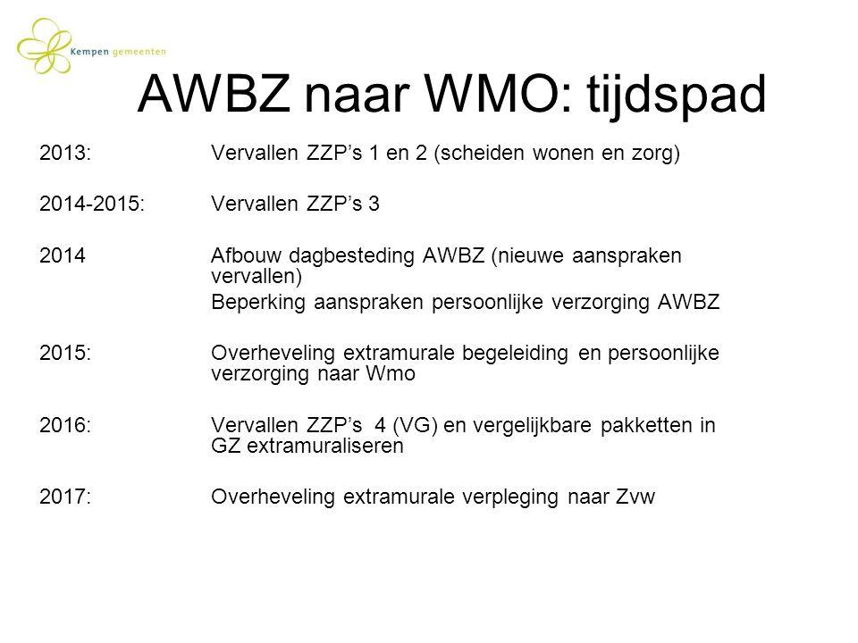 AWBZ naar WMO: tijdspad 2013: Vervallen ZZP's 1 en 2 (scheiden wonen en zorg) 2014-2015:Vervallen ZZP's 3 2014Afbouw dagbesteding AWBZ (nieuwe aanspra