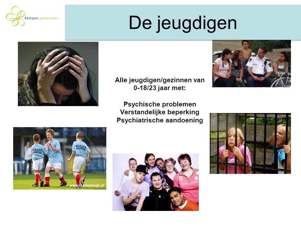Alle jeugdigen/gezinnen van 0-18/23 jaar met: Psychische problemen Verstandelijke beperking Psychiatrische aandoening De jeugdigen