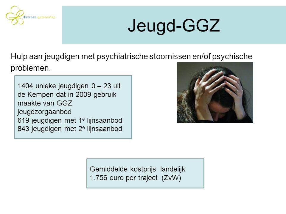 Jeugd-GGZ Hulp aan jeugdigen met psychiatrische stoornissen en/of psychische problemen. Gemiddelde kostprijs landelijk 1.756 euro per traject (ZvW) 14