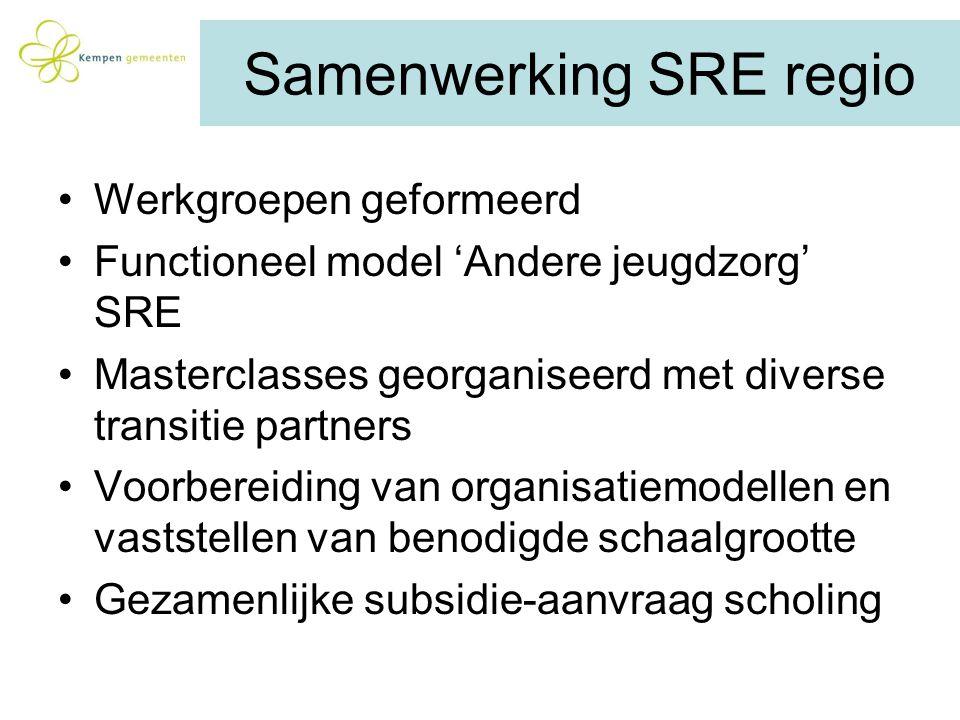 Samenwerking SRE regio Werkgroepen geformeerd Functioneel model 'Andere jeugdzorg' SRE Masterclasses georganiseerd met diverse transitie partners Voor