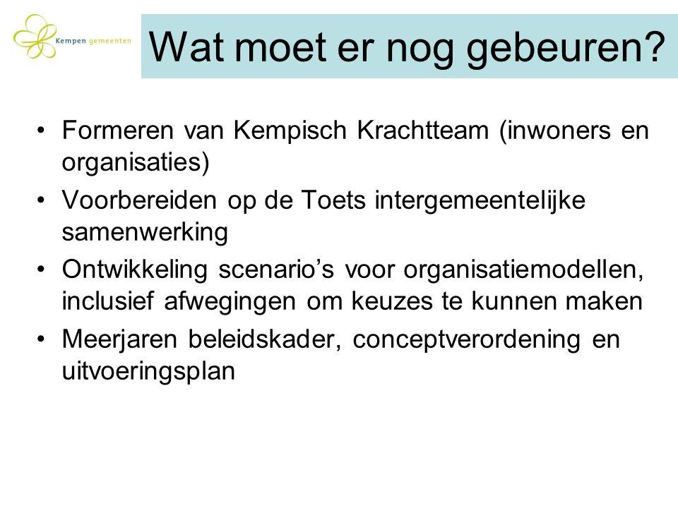 Wat moet er nog gebeuren? Formeren van Kempisch Krachtteam (inwoners en organisaties) Voorbereiden op de Toets intergemeentelijke samenwerking Ontwikk
