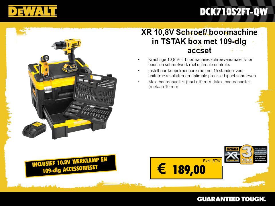 XR 10,8V Schroef/ boormachine in TSTAK box met 109-dlg accset Krachtige 10,8 Volt boormachine/schroevendraaier voor boor- en schroefwerk met optimale controle.