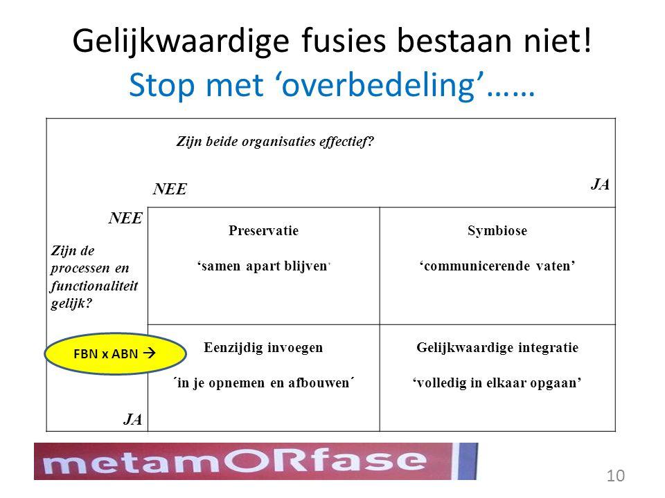 Gelijkwaardige fusies bestaan niet! Stop met 'overbedeling'…… Zijn beide organisaties effectief? NEE JA NEE Zijn de processen en functionaliteit gelij