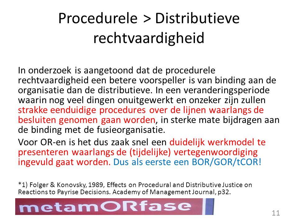 Procedurele > Distributieve rechtvaardigheid In onderzoek is aangetoond dat de procedurele rechtvaardigheid een betere voorspeller is van binding aan