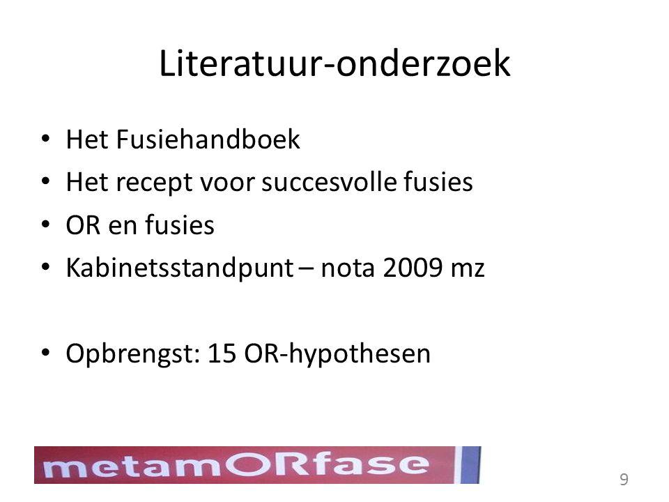Literatuur-onderzoek Het Fusiehandboek Het recept voor succesvolle fusies OR en fusies Kabinetsstandpunt – nota 2009 mz Opbrengst: 15 OR-hypothesen 9