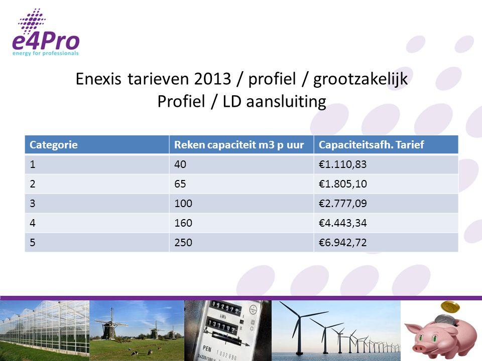 Enexis tarieven 2013 / profiel / grootzakelijk Profiel / LD aansluiting CategorieReken capaciteit m3 p uurCapaciteitsafh.