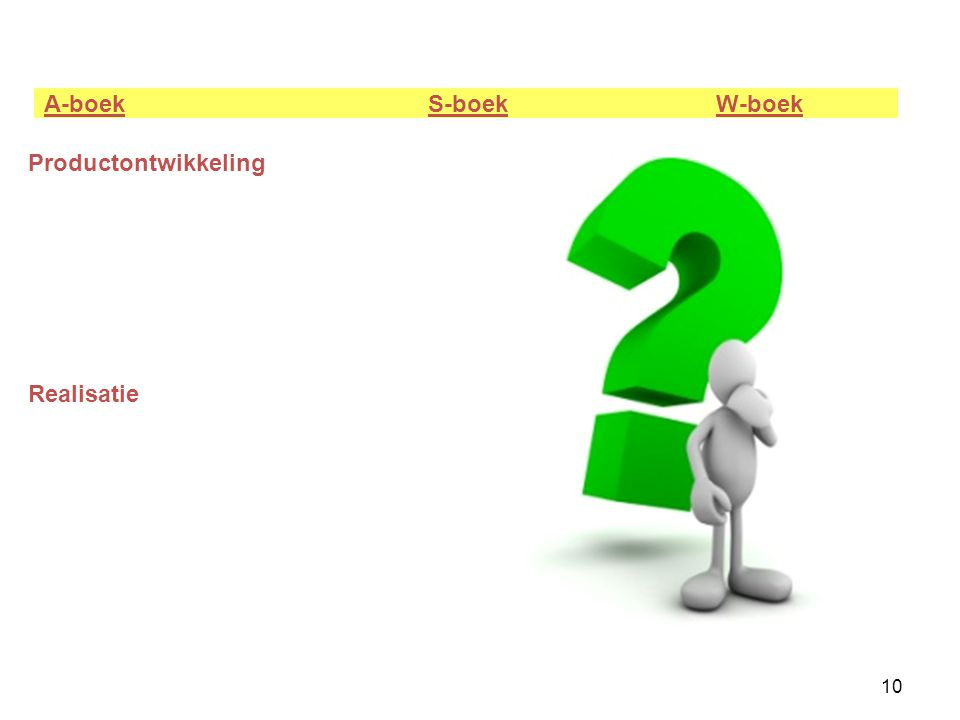 10 A-boek S-boek W-boek Productontwikkeling Realisatie