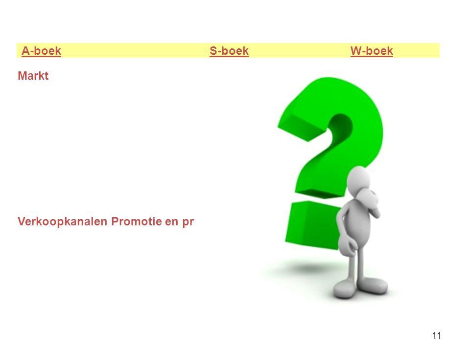 11 A-boek S-boek W-boek Markt Verkoopkanalen Promotie en pr