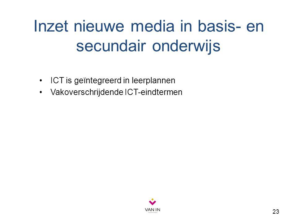 23 Inzet nieuwe media in basis- en secundair onderwijs ICT is geïntegreerd in leerplannen Vakoverschrijdende ICT-eindtermen