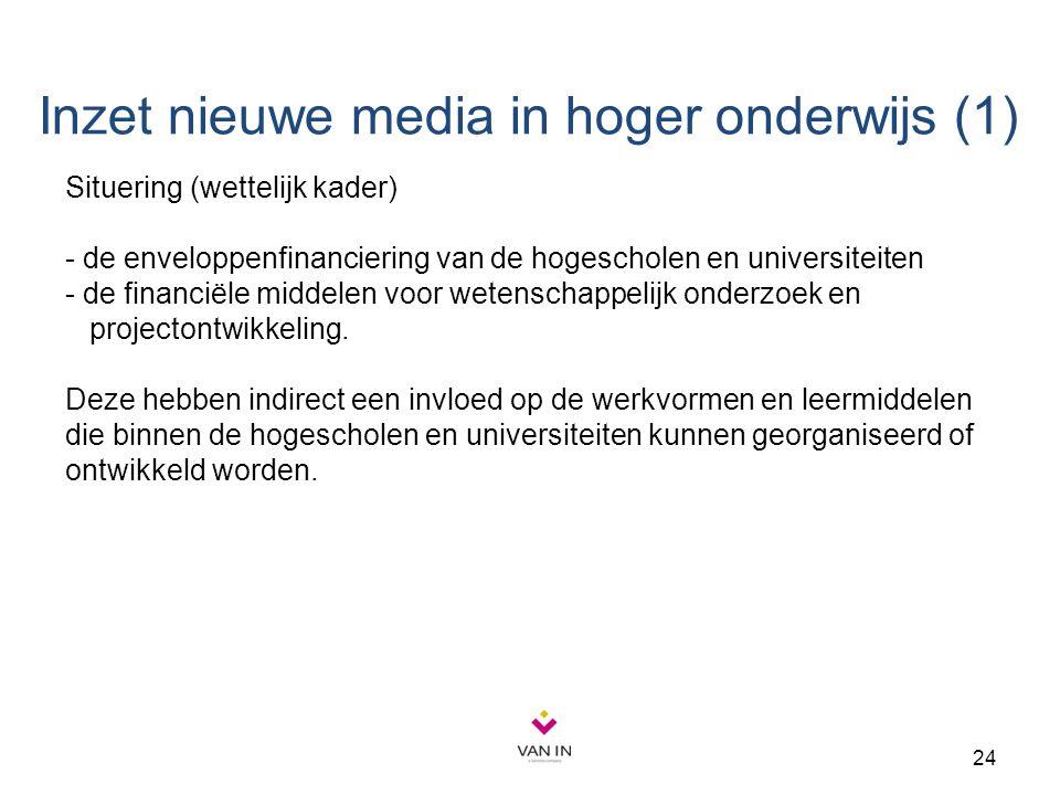 24 Inzet nieuwe media in hoger onderwijs (1) Situering (wettelijk kader) - de enveloppenfinanciering van de hogescholen en universiteiten - de financi