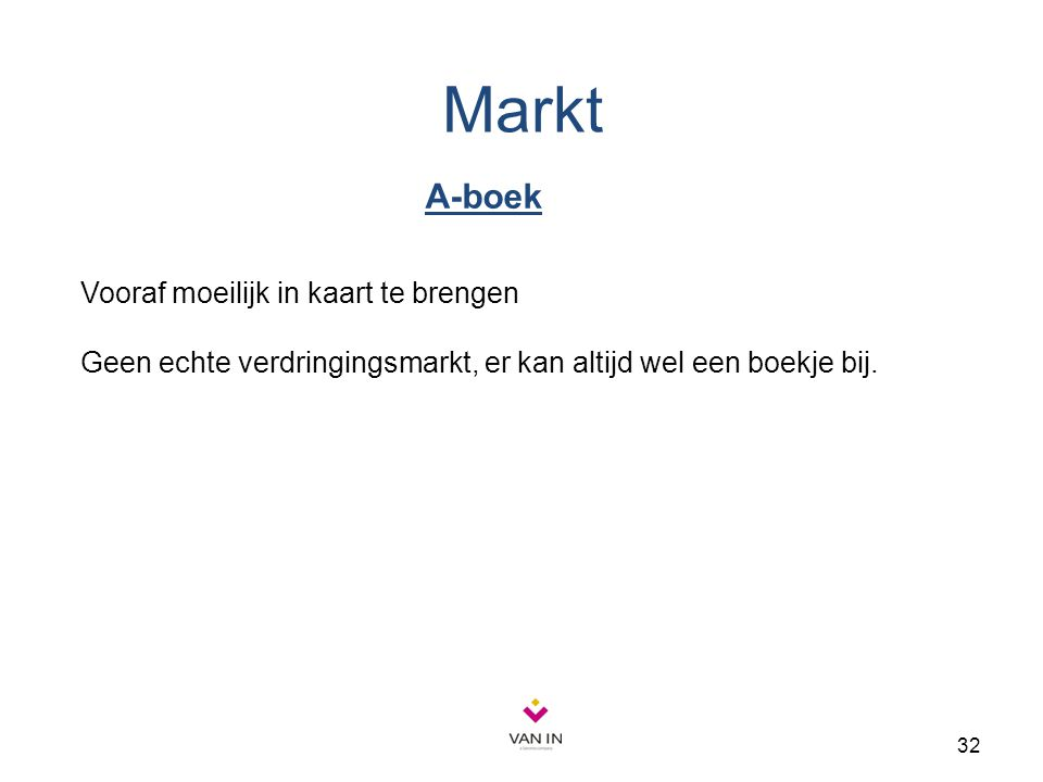 32 Markt A-boek Vooraf moeilijk in kaart te brengen Geen echte verdringingsmarkt, er kan altijd wel een boekje bij.