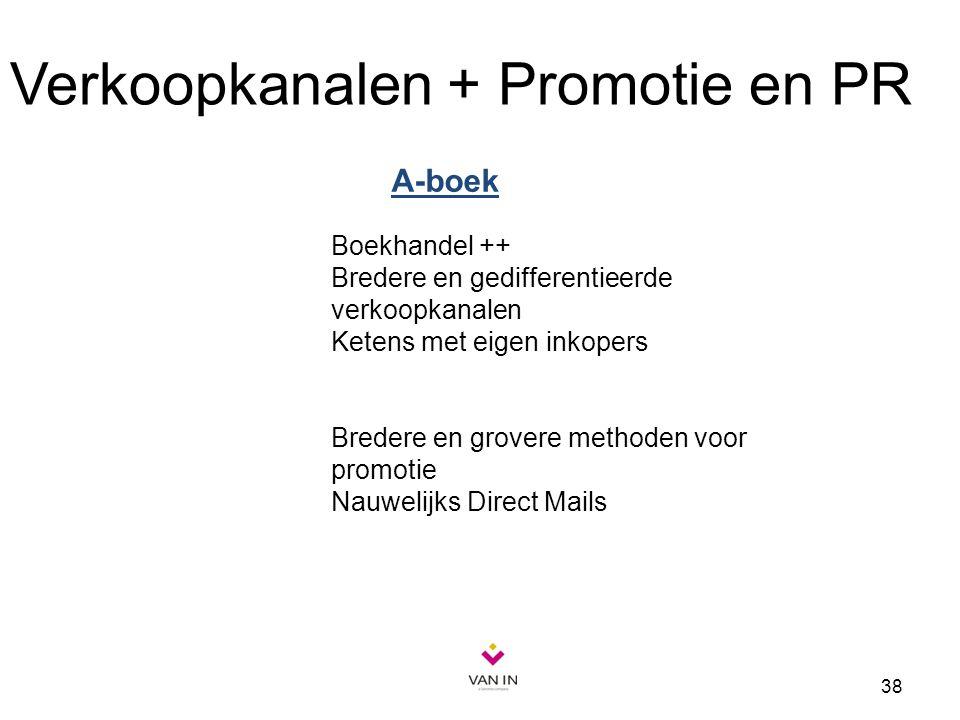 38 Verkoopkanalen + Promotie en PR Boekhandel ++ Bredere en gedifferentieerde verkoopkanalen Ketens met eigen inkopers Bredere en grovere methoden voo