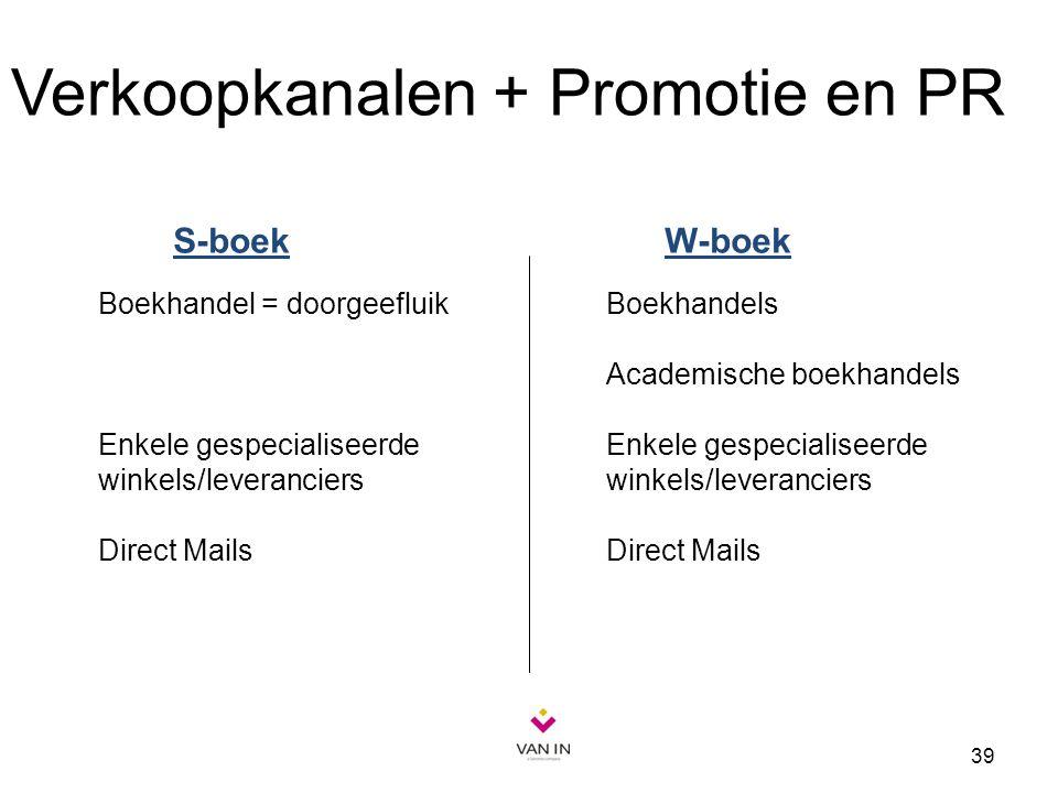 39 Boekhandel = doorgeefluik Enkele gespecialiseerde winkels/leveranciers Direct Mails Verkoopkanalen + Promotie en PR Boekhandels Academische boekhan