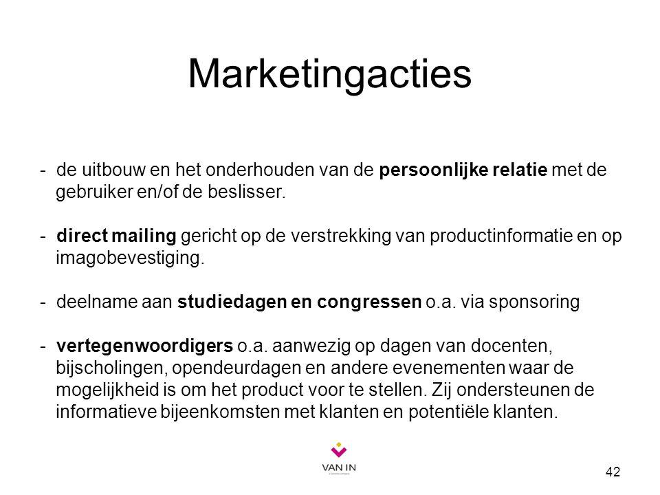 42 Marketingacties - de uitbouw en het onderhouden van de persoonlijke relatie met de gebruiker en/of de beslisser. - direct mailing gericht op de ver