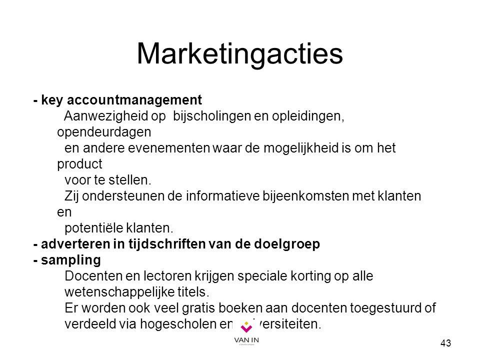 43 Marketingacties - key accountmanagement Aanwezigheid op bijscholingen en opleidingen, opendeurdagen en andere evenementen waar de mogelijkheid is o