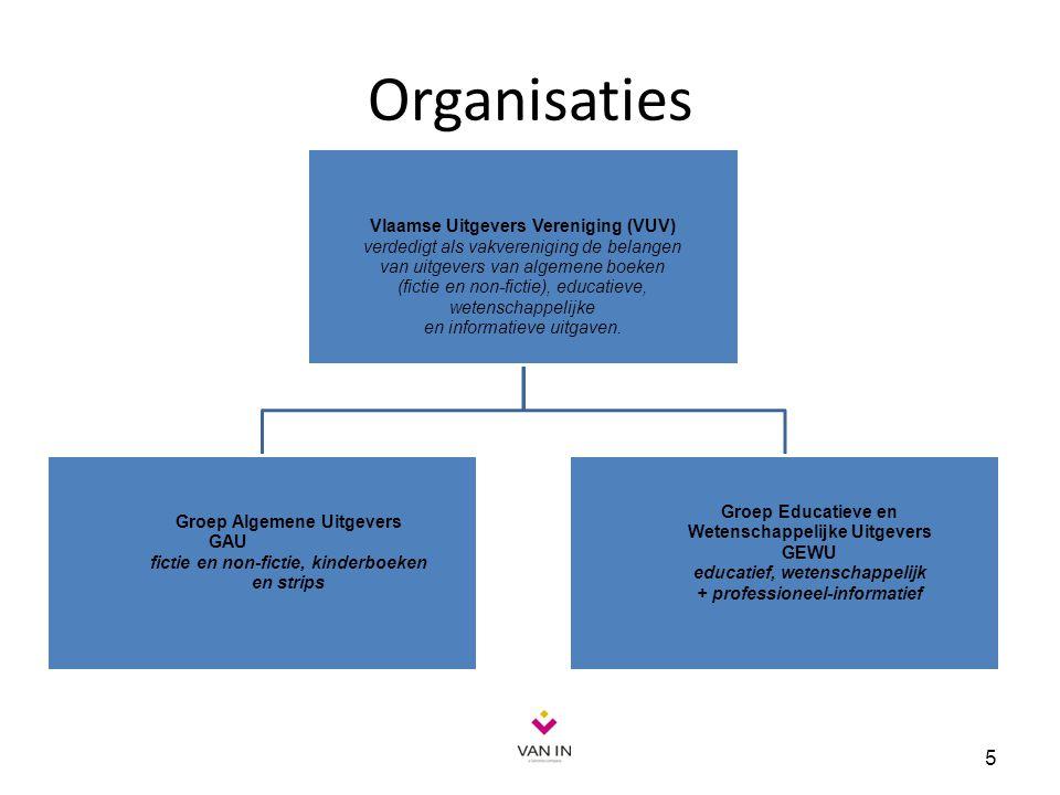 Organisaties 5 Vlaamse Uitgevers Vereniging (VUV) verdedigt als vakvereniging de belangen van uitgevers van algemene boeken (fictie en non-fictie), ed