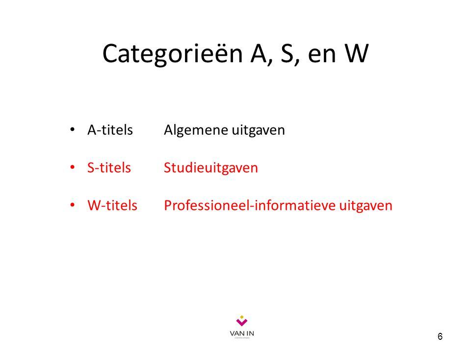 Categorieën A, S, en W A-titels Algemene uitgaven S-titels Studieuitgaven W-titelsProfessioneel-informatieve uitgaven 6