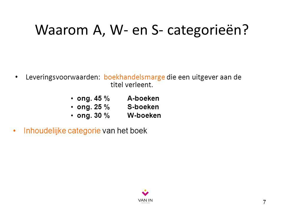 Waarom A, W- en S- categorieën? Leveringsvoorwaarden: boekhandelsmarge die een uitgever aan de titel verleent. 7 ong. 45 % A-boeken ong. 25 % S-boeken
