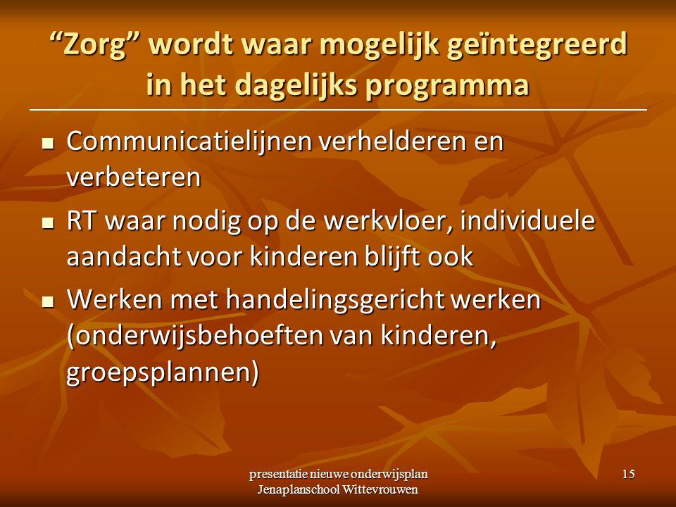 """presentatie nieuwe onderwijsplan Jenaplanschool Wittevrouwen 15 """"Zorg"""" wordt waar mogelijk geïntegreerd in het dagelijks programma Communicatielijnen"""