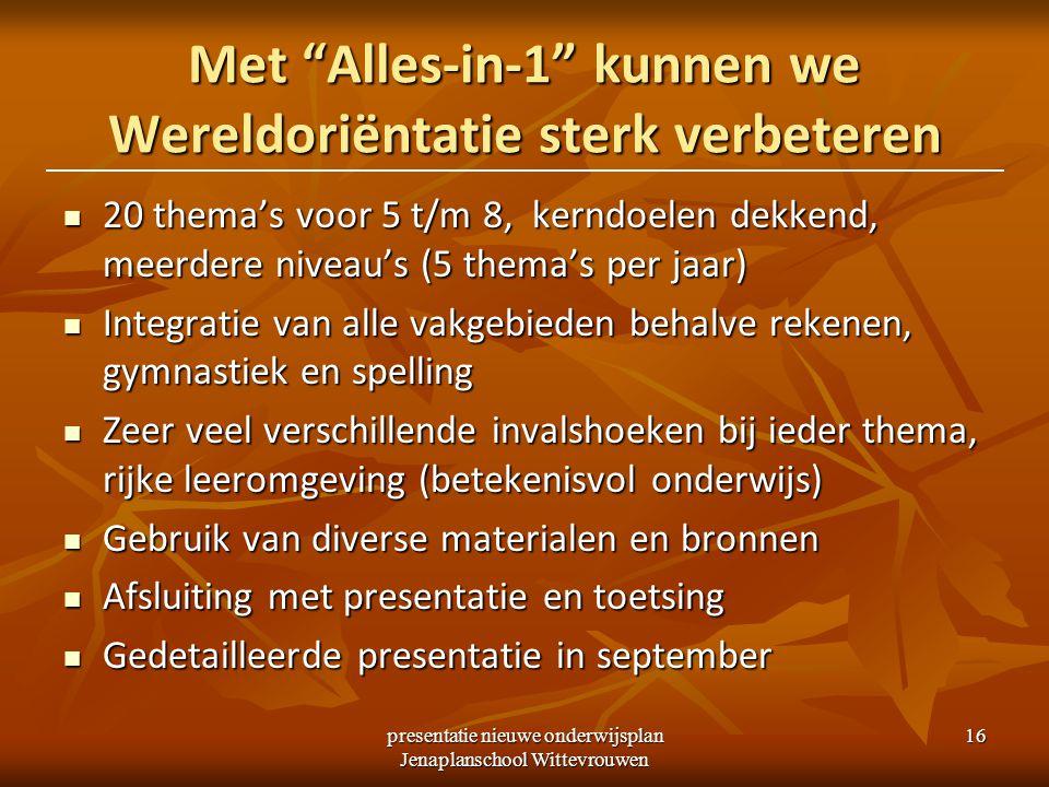 """presentatie nieuwe onderwijsplan Jenaplanschool Wittevrouwen 16 Met """"Alles-in-1"""" kunnen we Wereldoriëntatie sterk verbeteren 20 thema's voor 5 t/m 8,"""