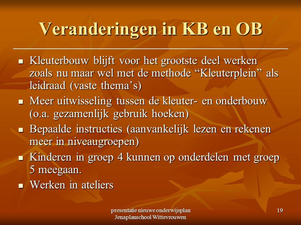 presentatie nieuwe onderwijsplan Jenaplanschool Wittevrouwen 19 Veranderingen in KB en OB Kleuterbouw blijft voor het grootste deel werken zoals nu ma