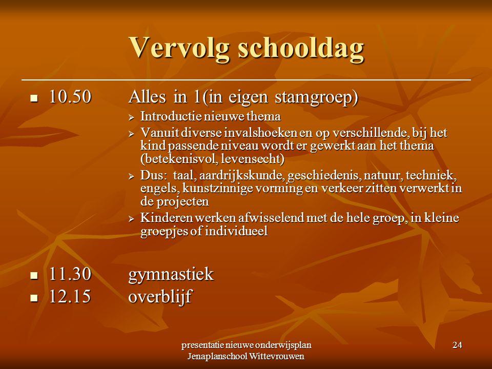 presentatie nieuwe onderwijsplan Jenaplanschool Wittevrouwen 24 Vervolg schooldag 10.50Alles in 1(in eigen stamgroep) 10.50Alles in 1(in eigen stamgro