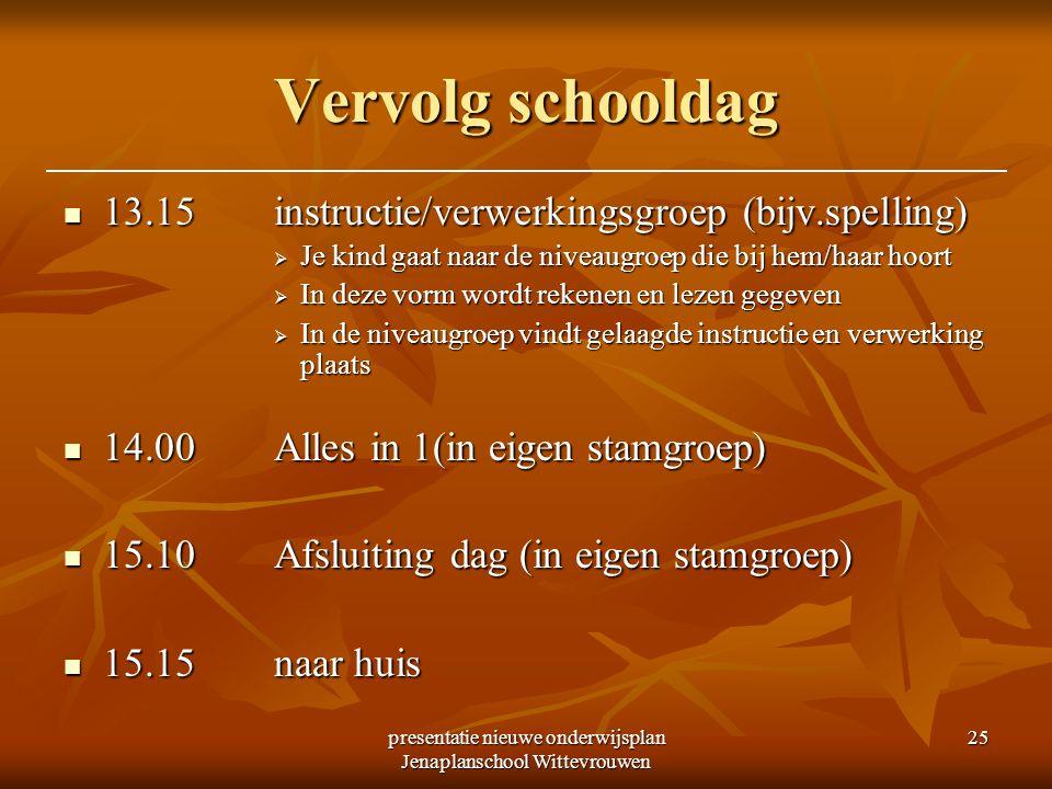 presentatie nieuwe onderwijsplan Jenaplanschool Wittevrouwen 25 Vervolg schooldag 13.15instructie/verwerkingsgroep (bijv.spelling) 13.15instructie/ver