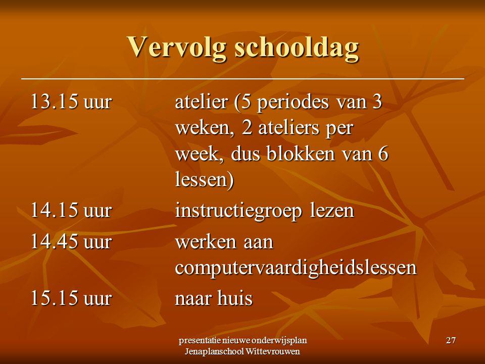 presentatie nieuwe onderwijsplan Jenaplanschool Wittevrouwen 27 Vervolg schooldag 13.15 uuratelier (5 periodes van 3 weken, 2 ateliers per week, dus b