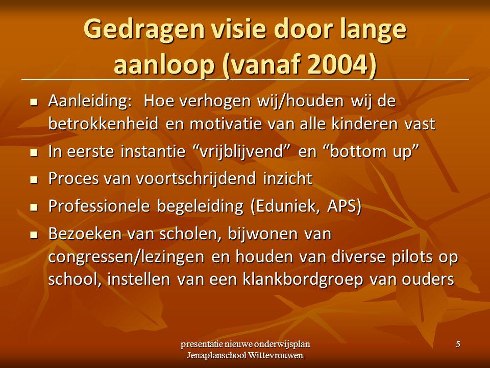 presentatie nieuwe onderwijsplan Jenaplanschool Wittevrouwen 5 Gedragen visie door lange aanloop (vanaf 2004) Aanleiding: Hoe verhogen wij/houden wij