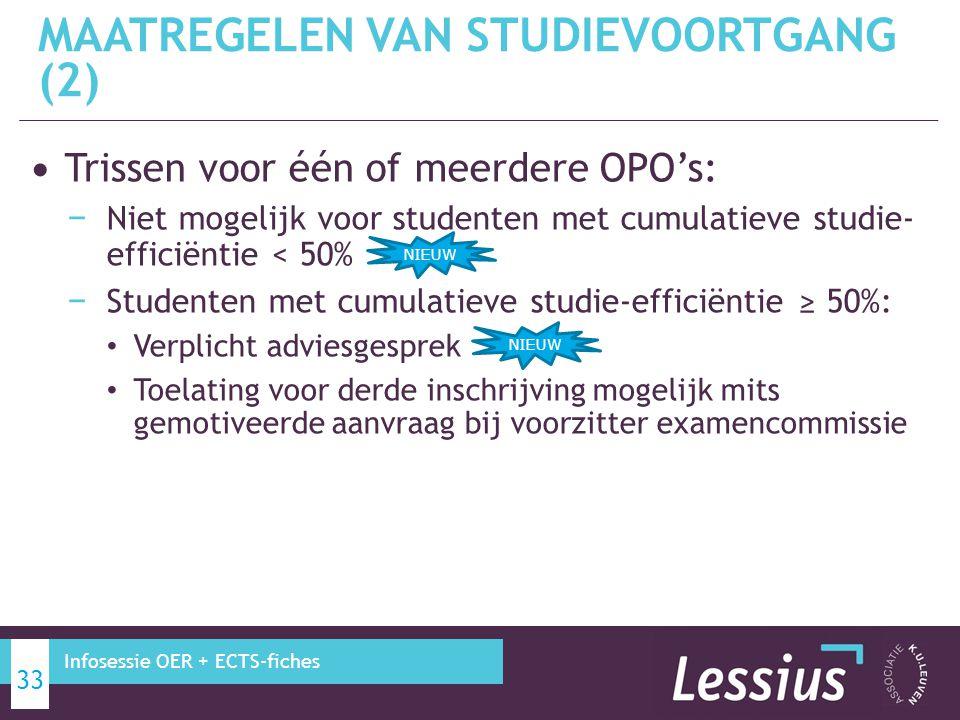 Trissen voor één of meerdere OPO's: − Niet mogelijk voor studenten met cumulatieve studie- efficiëntie < 50% − Studenten met cumulatieve studie-effici