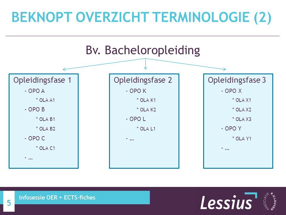 Soorten studietrajecten: − Modeltraject: Standaardtraject Flexibel traject − Geïndividualiseerd studietraject BEKNOPT OVERZICHT TERMINOLOGIE (3) 6 Infosessie OER + ECTS-fiches