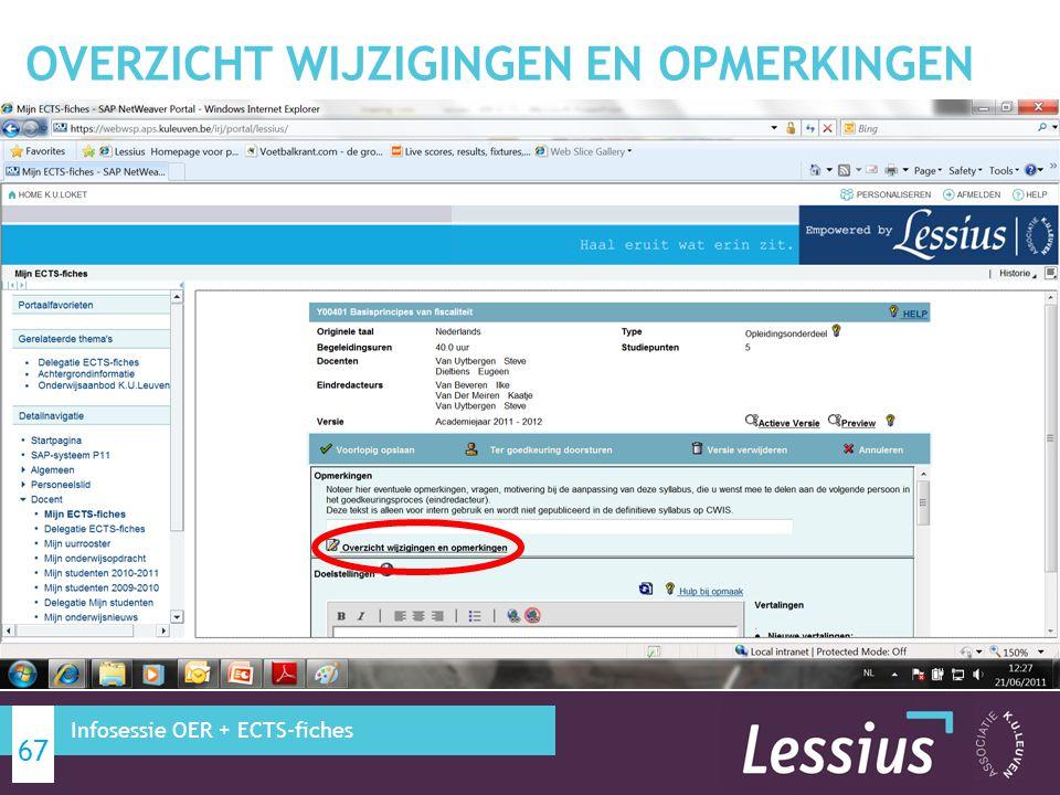 BIJKOMENDE INFORMATIE ECTS-FICHES 68 Infosessie OER + ECTS-fiches
