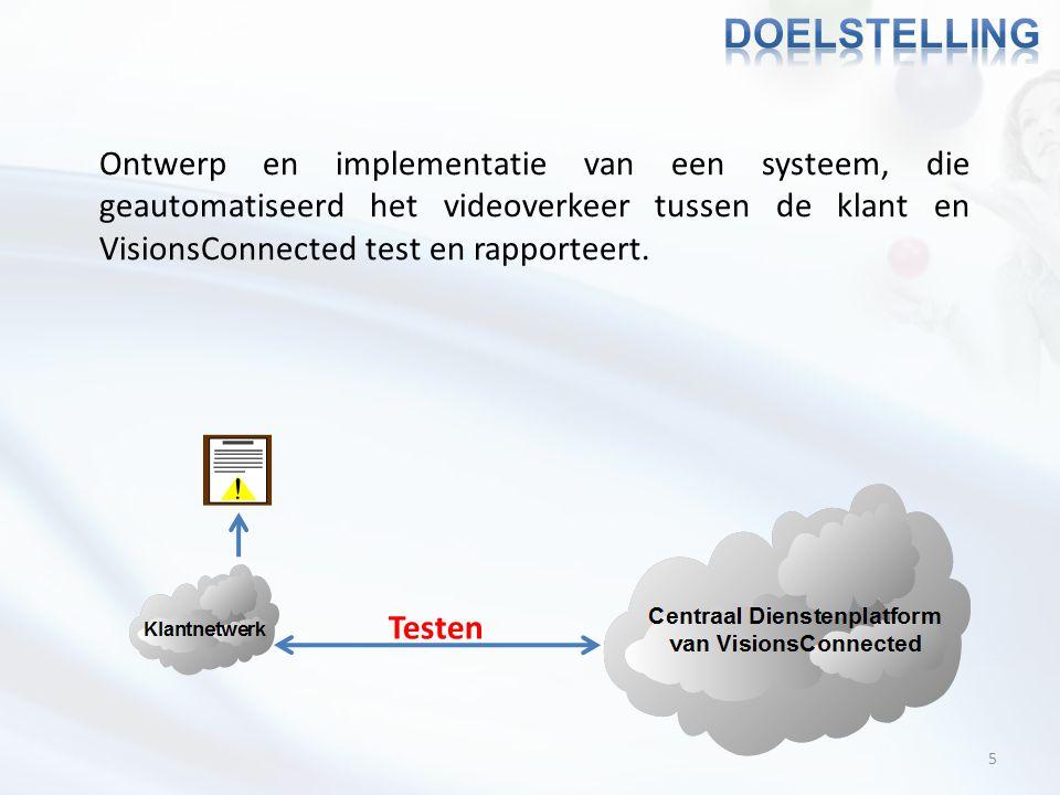 5 Ontwerp en implementatie van een systeem, die geautomatiseerd het videoverkeer tussen de klant en VisionsConnected test en rapporteert. Testen