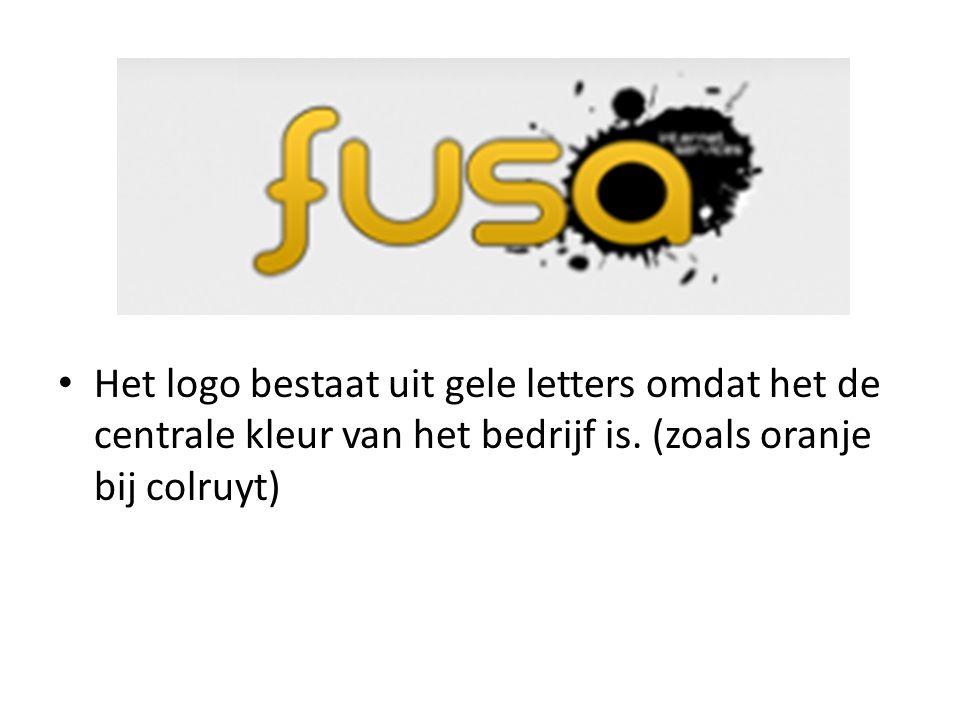 Het logo bestaat uit gele letters omdat het de centrale kleur van het bedrijf is.