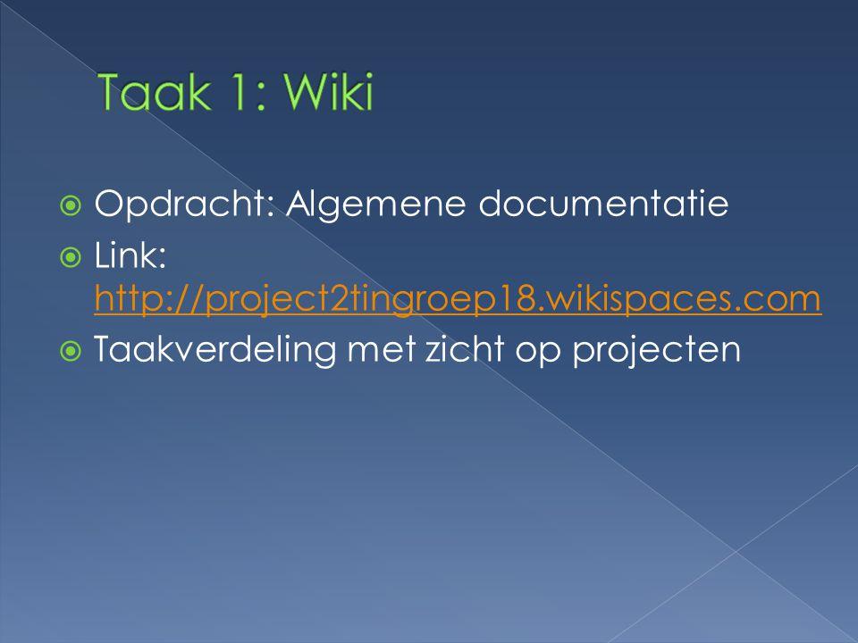  Opdracht: Algemene documentatie  Link: http://project2tingroep18.wikispaces.com http://project2tingroep18.wikispaces.com  Taakverdeling met zicht op projecten
